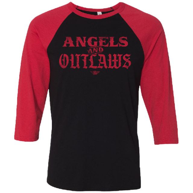 Struggle Jennings Black and Red Angels and Outlaws Raglan Tee
