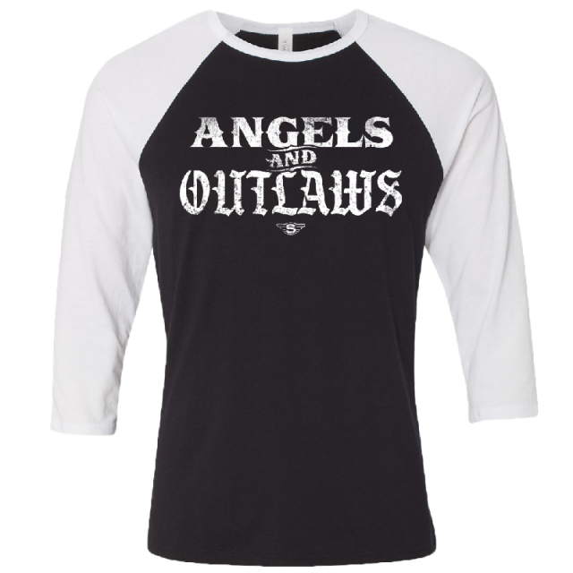 Struggle Jennings Black and White Angels and Outlaws Raglan Tee